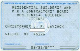 Residential Builders certification